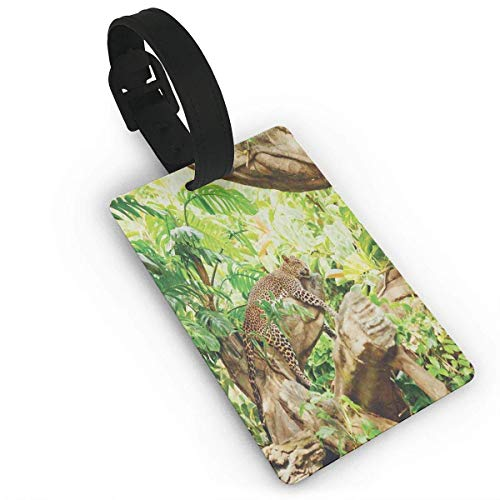 Leopard On The Branch In Savannah Exotic Macro Tropical Leaf Jungle Wild Nature Art Luggage Tags