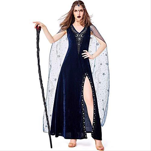 ZmnXnm Halloween Horror Nacht, Nacht Himmel Blau Stern Göttin, Bühne Magic Show Kostüme, Tanz Kostüme S blau (Göttin Mini Kostüm)
