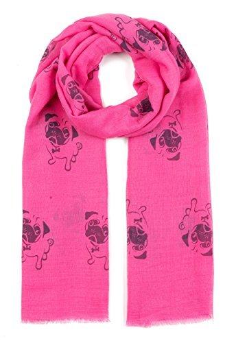 World of Shawls Mops Hund, Dackel Hunde, Spaniel Hund Aufdruck Schal - alle Jahreszeiten Lovely weich Schal Tücher Schal Schals - Mops Hund (Hot Pink), 100 x 180 cm (Hot Mop)