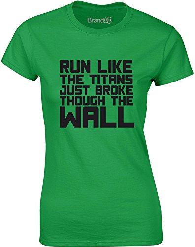 Brand88 - Run Like the Titans..., Gedruckt Frauen T-Shirt Grün/Schwarz