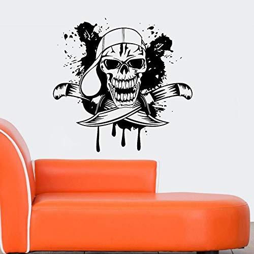 guijiumai Dctal Schädel Halloween Hut Dolch Aufkleber Punk Death Decal Devil Poster Name Autofenster Kunst Wandtattoos Parede Decor Mu 8 116x120cm -
