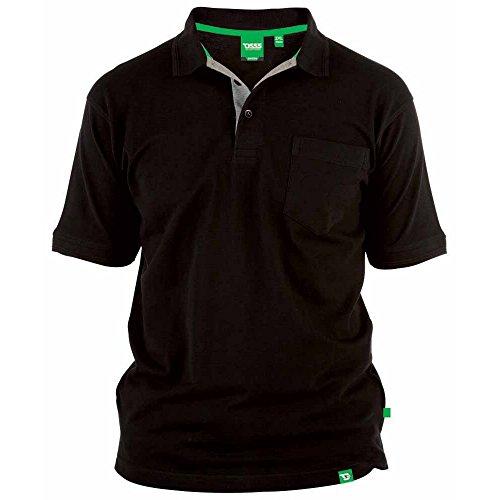 Duke D555 - Camiseta Polo de piqué Modelo Grant en Talla Grande para Hombre (7XL/Negro)