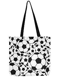 Editable Vector - Bolso bandolera de lona sin costuras, bolas de fútbol, bolso de