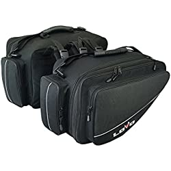 Par de alforjas Laterales para Moto semirrígidas Negras con Detalles en Negro - Capacidad por alforja: 27 litros (Cerrada) y 34 litros (extendida)