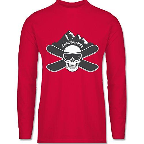 Wintersport - Snowboard Totenkopf - Longsleeve / langärmeliges T-Shirt für Herren Rot