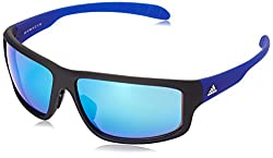 Adidas Kumacross 2.0 Sunglasses - Mens Black Matte/Blue 64 mm
