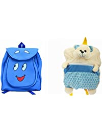 Pratham Enterprises Combo Of Blue Smile Bag And Blue Print Bear Soft Toy Bag ( Pack Of 2 )