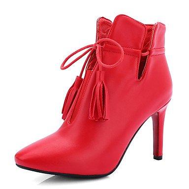 WSX&PLM Da donna-Ballerine-Formale Casual Serata e festa-Stivaletto-A stiletto-Finta pelle-Nero Rosso Bianco red