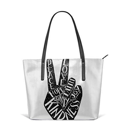 Cocoal-ltd Peace-Zeichen mit Worten Peace, Love, Faith, Joy, Hope, Kindness Leder Tote Große Geldbörse Schultertasche Tragbare Aufbewahrungstasche Handtaschen Praktische Shopper - Peace-zeichen-geldbörse