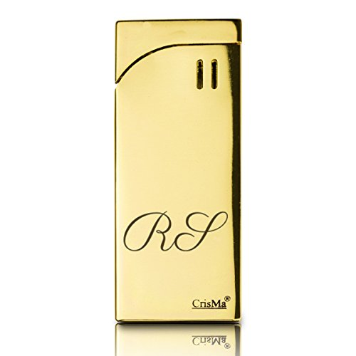 Geschenkidee.de Feuerzeug Gold mit Gravur | Goldbarren Gas-Feuerzeug personalisiert mit Initialen | robust und edel