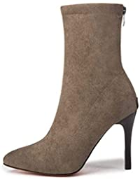 Femminile calzino Stivali a Punta Le Dita dei Piedi Sottile Sexy Elastica  High Heel Zipper Alta f8b6df3d1d3