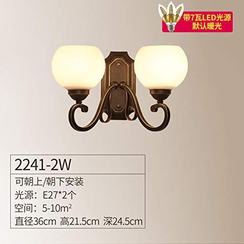 Lámpara de pared retro país dormitorio sala de estar comedor lámpara pasillo pasillo de porche de hierro forjado lámpara de pared 2241-1W 2241-2W hacia arriba con fuente de luz_7