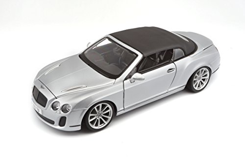 Bburago 11037S - Modellauto 1:18 Bentley Continental Supersports Convertible, Silber (Bentley Modell)