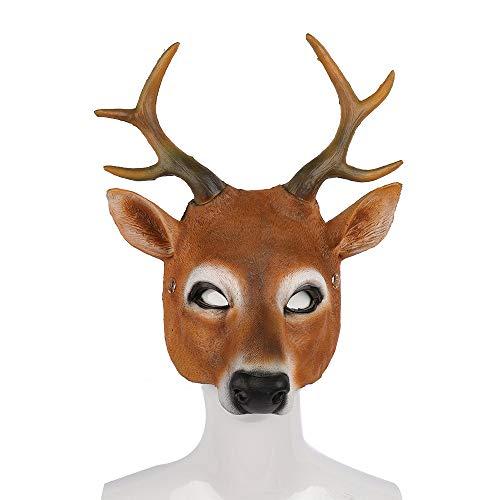 BaronHong Half Face Cosplay Kostüm Hirsch Masken für Kinder Erwachsene Karneval Party (Hirsch, M)