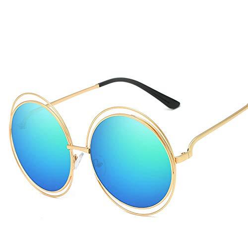 RMJCZQX Damen Sonnenbrille Big Box Trend Sonnenbrille mit rundem Rahmen Metall Sonnenbrille Europa und Amerika (Goldrahmen blau grün)