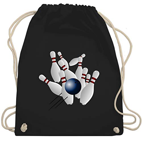 Shirtracer Bowling & Kegeln - Bowling Strike Pins Ball - Unisize - Schwarz - WM110 - Turnbeutel und Stoffbeutel aus Bio-Baumwolle