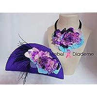 Mabel Diademe conjunto collar y bolso de mano cartera eventos bodas comunion bautizo complementos invitada novia plumas flores morado tocados personalizados bautizo arras