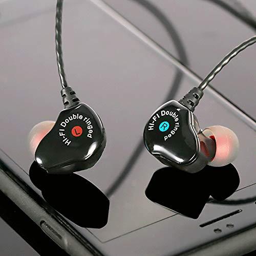 Y56 HiFi In-Ear Kopfhörer Dual Dynamic Treiber Kopfhörer Sports Super Bass Stereo Ohrhörer Headset mit Mikrofon Mic (Schwarz)