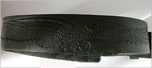 Ceinture cuir noire aigle pour boucles universelles (115 cm)