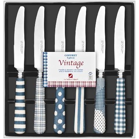 La Table d'Albert 596031 Vintage - Cofanetto con 6 coltelli in acciaio INOX, colore: Blu