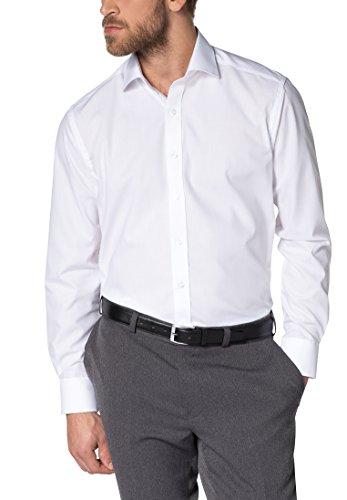 eterna Herren Modern Fit Uni Popeline Langarmhemd weiss Gr. 46