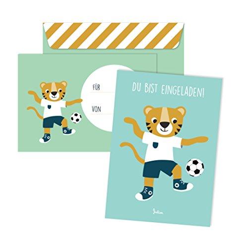 JulicaDesign Einladungskarten Kindergeburtstag | 6 Karten mit Umschlag | 6er Set | Geburtstagseinladungen für Jungs und Mädchen (Fußball)