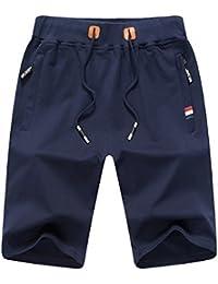 7168a7ea48f0 JustSun Mens Casual Sports Joggers Shorts with Elastic Waist Zipper Pockets