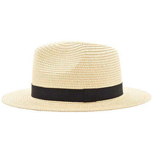 (QHJ Unisex Strand Strohhut Jazz Sonnenschirm Panama Fedora Hat Gangster Cap)