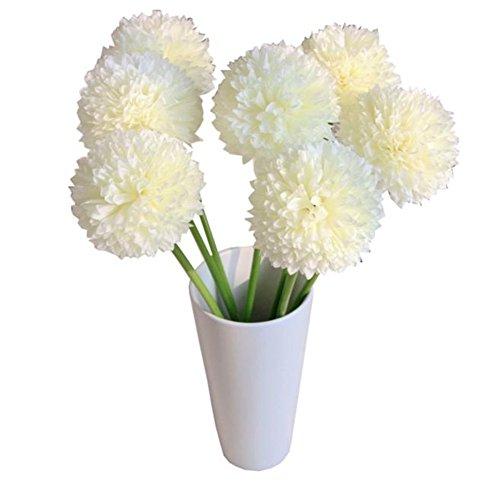 ★♣Irona fiori artificiali, 5pcs lavanda Palla fiori Mazzo per la casa di nozze (bianco)