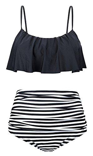 Lever Damen Bikini Retro Push Up Schalen Bikini zum Binden Bügellos Bikini, Gr.-36(L), Schwarz Streifen