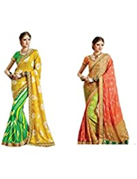 Mantra Fashions Women's Georgette Saree (Mant36_Multi)-Pack of 2