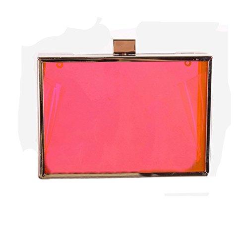 MOGOR, Poschette giorno donna trasparente Clear medium Red