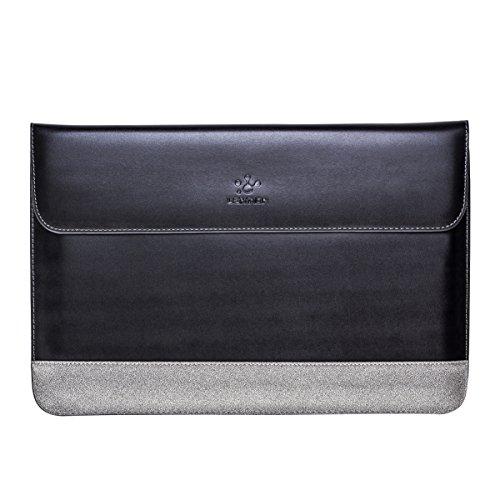 """Lention Split Lederhülle für MacBook Air 13/2012-2015 MacBook Pro 13\""""/Dell/Samsung/HP/Lenovo/ASUS/Acer, Premium-Tragetasche mit magnetischen Snaps für 13,3-14 Zoll Laptops&Tablets (Schwarz mit Grau)"""