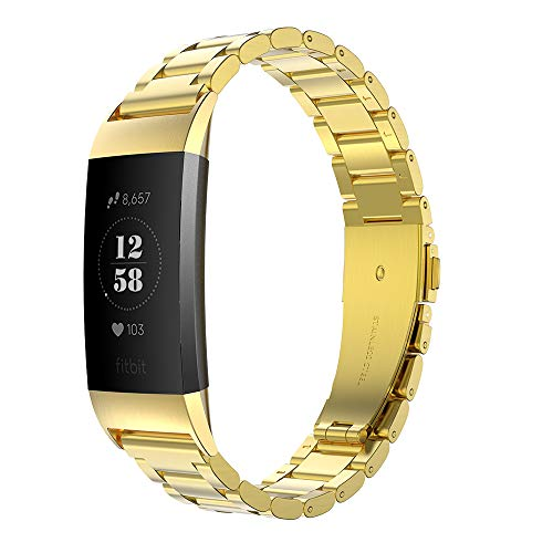 Simpeak für Fitbit Charge 3 Armband Gold (5,5