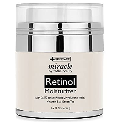 Retinol Moisturizer Cream for Face 1.7 oz with 2.5% retinol, hyaluronic acid and jojoba oil. Best night and day moisturizing cream 1.7 fl. oz by Radha Beauty Products EU LTD