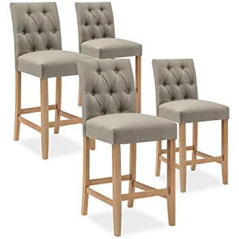 INTENSEDECO Lot de 6 chaises capitonnées Gaya Tissu Gris Intense Déco
