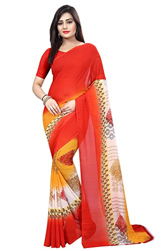 Vivera Women's Designer New Arrival Georgette Printed Saree With Blouse Piece