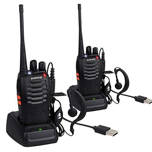IMURZ Baofeng Talkie Walkie 16 Canaux 2-Way Radio Longue Portée Portable Émetteur-récepteur avec LED Lumière avec Earpieces pour Survie sur Le Terrain Randonnée Cyclisme,2PCS