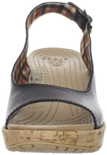 Crocs A-leigh Leather Wedge, Damen Sandalen Schwarz (Black)