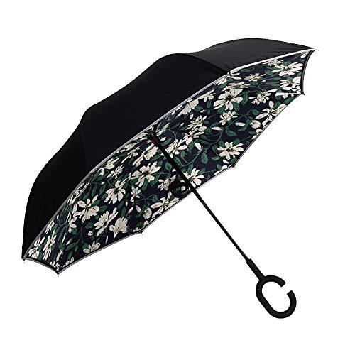 KMYS Reflexschirm, doppelschichtig, Faltbar, umgekehrter Regenschirm, Winddicht, UV-Schutz, selbststehend, Invertierter Regenschirm, C-förmiger Griff, Camellia