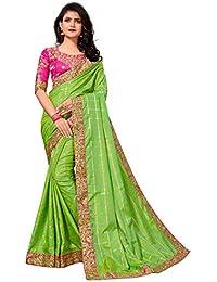 Pratham Blue Silk Saree with Blouse Piece Saree (PA-5030_Green_Free Size)