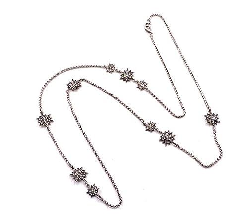 Starburst Celestial Star Motif Long Satellite Necklace in Antique Silver Tone (In Organza Bag)