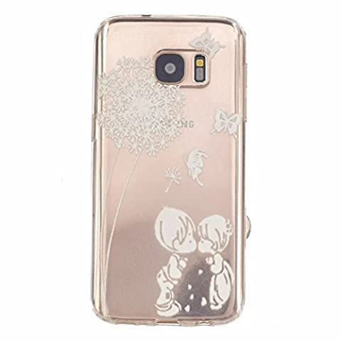 MUTOUREN Samsung Galaxy S7 case cover Soft TPU Case ultra-thin feel good, 3D transparent mobile phone shell Protective Front and Back Full Body Shock-Absorption anti-scratch case-simple white pattern boy and girl kiss Feather