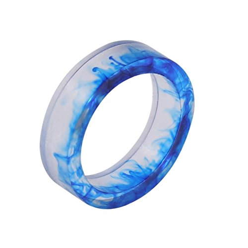 Zibuyu Ink Painting Resin Ring Women/Men Vintage Punk Jewelry/Blue 18Mm Smooth