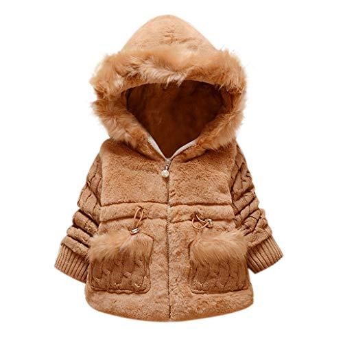 LEXUPE Jacke Baby Kapuzenmantel Frühling Coat Herbst Mäntel Kind Winterjacke Mantel Unisex Kapuzejacke Kleinkinder Steppjacke Mädchen Outerwear mit Kapuze(Khaki,100)