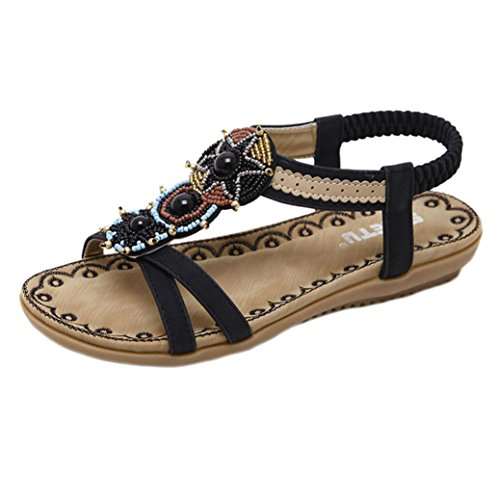 Sandalias de mujer Bohe Moda Verano Bohemia Plano Talla grande Clip Toe Dulce Con cuentas Sandalias casuales Zapatos de playa Sandalias romanas Chanclas de damas LMMVP