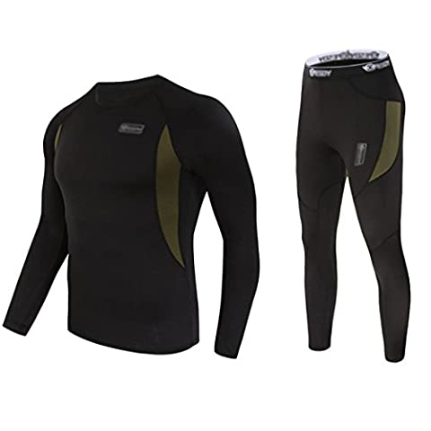 UNIQUEBELLA Herren Winter Suit Ski Thermo-Unterwäsche Set Thermowäsche langarm Unterhemd + Thermo lange Unterhose