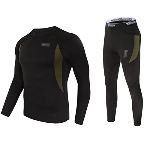 UNIQUEBELLA Herren Winter Suit Ski Thermo-Unterwäsche Set Thermowäsche langarm Unterhemd + Thermo lange Unterhose (Base Layer Fleece Top)