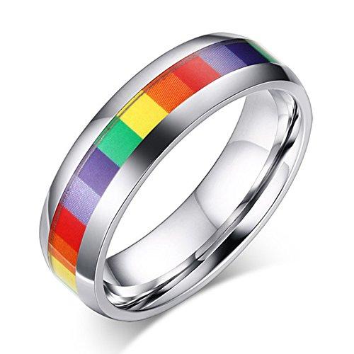 Jajafook fedine classic 6mm dadi in acciaio inox colorato gay lala promessa band rings e acciaio inossidabile, 61 (19.4), colore: rainbow, cod. h-901-b88