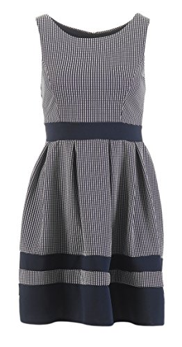 Damen ärmelloses Sommer Minikleid Kleid Dress kariert gestreift Bundfalten Blau